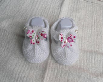 Baby wool sandalette White Butterfly shape