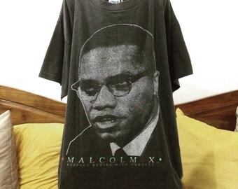 Vintage 90s Bootleg Malcolm X Tshirt Icon