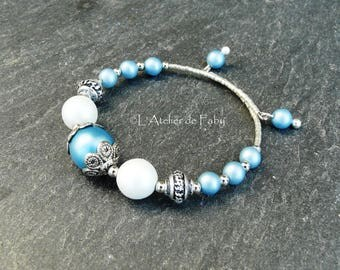 Blue and silver memory bracelet