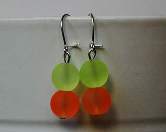 dangle earrings bright Frosted Yellow and neon orange