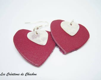Love red leather and Silver earrings