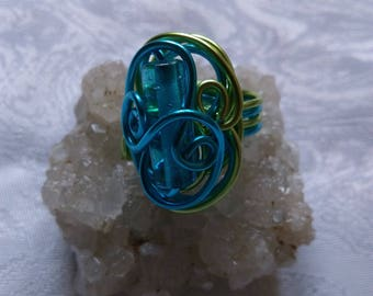 aluminum wire ring turquoise blue and Apple green