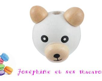 wooden bear 3D 2.6x2.9 cm 1 bead