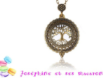 1 gold plated pendant and glass magnifying glass tree of life