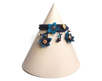 Eco-designed fabric blue/Brown necklace