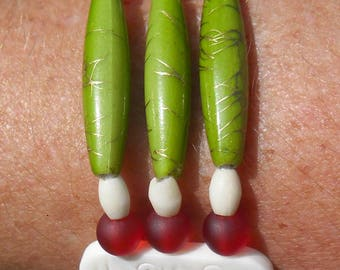 ethnic bracelet, ivory and Red