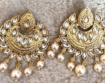 Jhumka Earrings, Indian Jewelry,Gold Studs,Jhumka Pearl Jhumka Beautiful Indian Jewelry Gold Jhumki Chandbali Bollywood USA