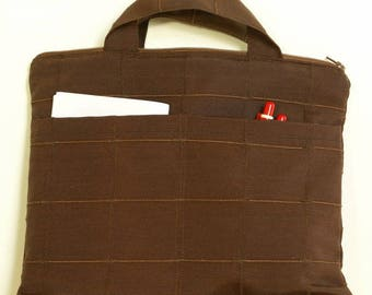 Fancy stitched Brown fabric Tablet cover