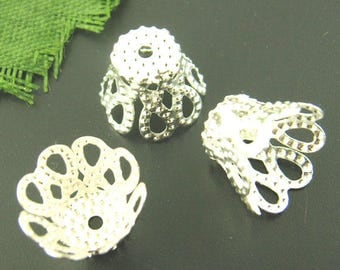 Lot 100 cups Ciselees silver 7x9mm to pearls - SC01312-