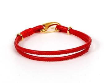 Cord bracelet have red to personalize it with beads - jewelry Creations.