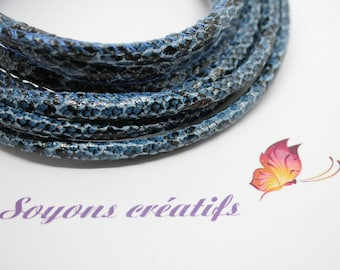 10 cm with 5mm - creating jewelry blue Boa leather cord
