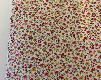 Cotton fabric Liberty flowers - sold by 10 cm red and yellow
