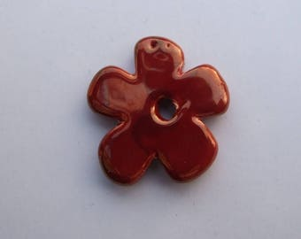 CERAMIC RED FLOWER GOLD 37MM
