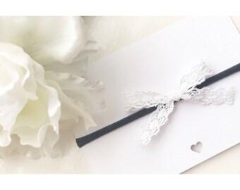 Organic white lace bow