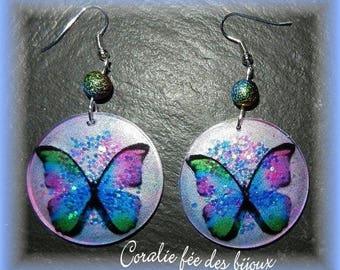 Butterfly resin crystal/sequins, glitter beads earrings