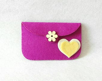 Purple felt purse with wooden flower