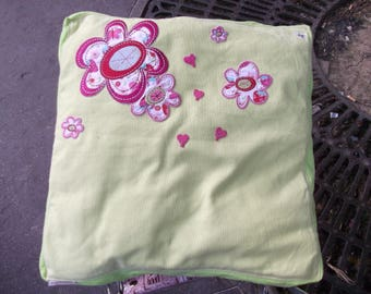 Lime with applications, embroidered flowers pillow cover