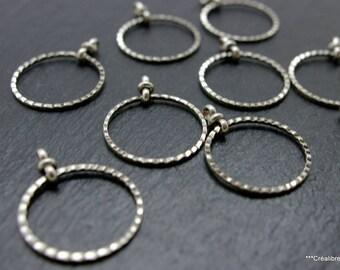 set of 10 20 mm silver circles