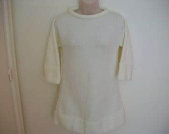off white acrylic wool knitted dress tunic sweater