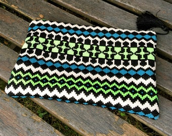 Makeup bag in cotton ethnic patterns
