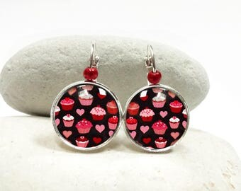 Earrings round cupcake cabochons