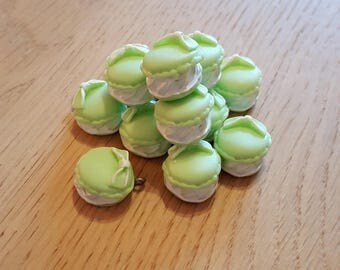 Set of 3 antique pistachio macarons in polymer clay