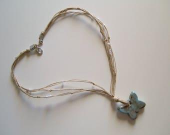 ceramics sky blue butterfly necklace Choker