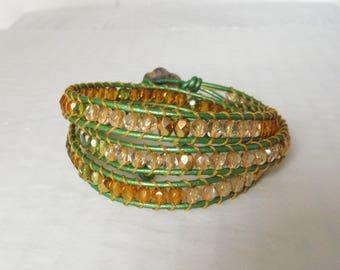 Bracelet type chan luu wrap bracelet Gold/Green