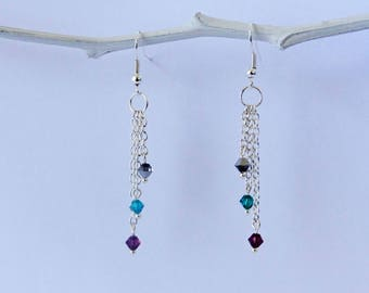 chain and swarovski Pearl Earrings 3 colors