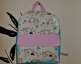 Waterproof backpack child kindergarten/elementary school girl theme unicorns customizable handmade