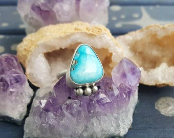 Turquoise pyrite sterling silver ring handmade size 7