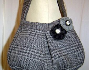 Gray wool Plaid bag