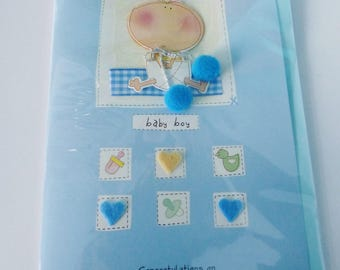 baby boy congratulations card baby boy blue with Pompom and felt heart 3D