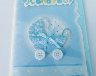 baby boy congratulations card baby boy blue embossed 3D pram fabric lace and button