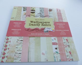 paper 30 X 30 cm 24 cardstock sheets printed double-sided dandy retro