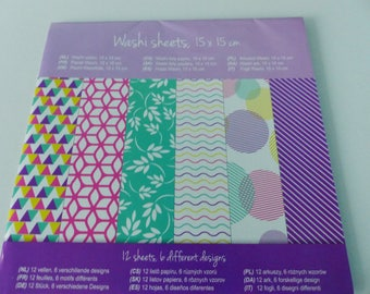 12 sheets of washi paper 6 differents design sticker square 15 X 15 cm