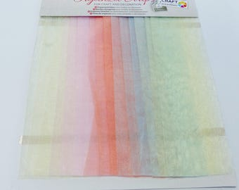 15 strips of organza in pastel soft green pink blue