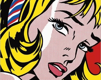 DECO poster wall Roy Lichtenstein Girl with Hair Ribbon 30 x 30 cm