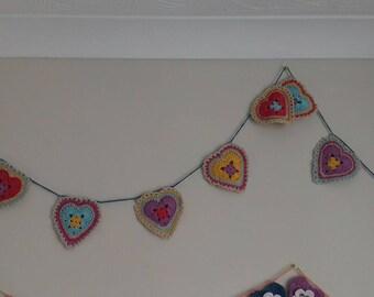 Crochet granny heart bunting