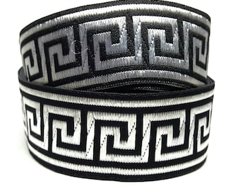 Woven jacquard Ribbon geometric black and silver - width 25 mm textile design and accessories diy /Sweetchicmercerie