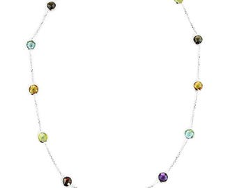14K White Gold Handmade Station Necklace With 6 MM Gemstones By The Yard