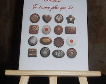 "Customizable card ""I love you more than chocolate"""