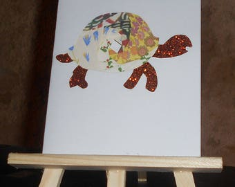 card iris folding with glitter paws and head turtle