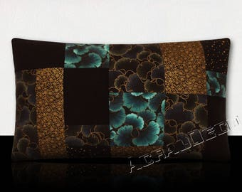 Shades of blue-Ginkgo blue patchwork pillow night/black/gold-flowers black/gold-Ginkgo Mikoto turquoise/gold