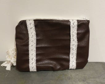 Brown faux leather pouch