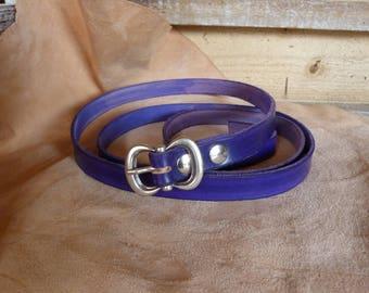 Pretty purple fine leather belt buckle