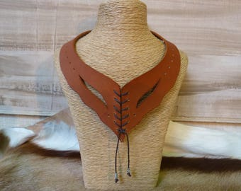 """Necklace """"cognac"""" leather lacing and metal beads"""