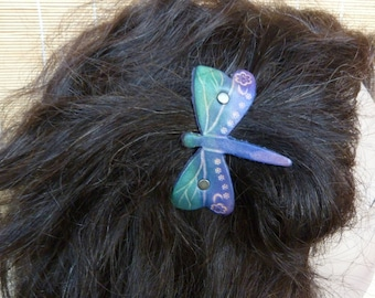 "Barrette ""Dragonfly"" fairy purple and green leather"
