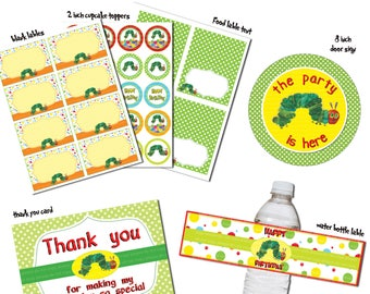Instand DL -The very hungry caterpillar PARTY Package Printable Birthday Package (NON Personalized)