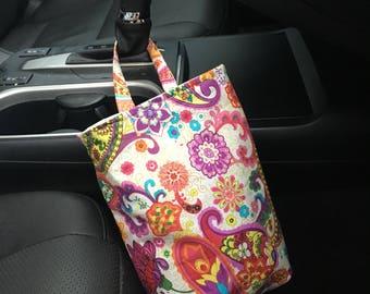 Car trash bag, auto rubbish bin, car organization, paisley car accessory